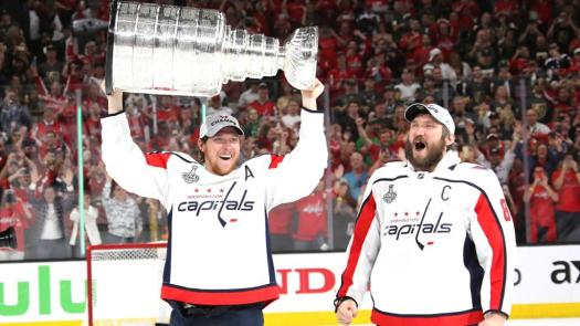 Alexander Ovechkin and Nicklas Backstrom with Stanley Cup