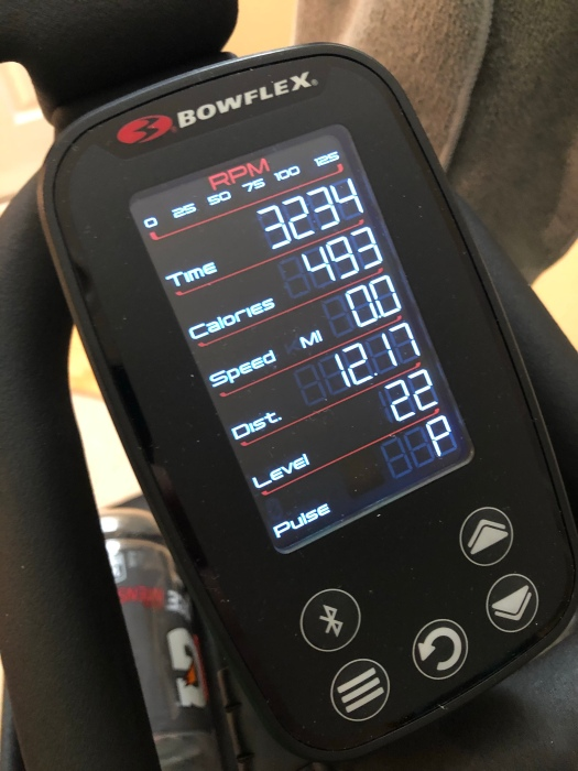Screen on the Bowflex C6 following workout
